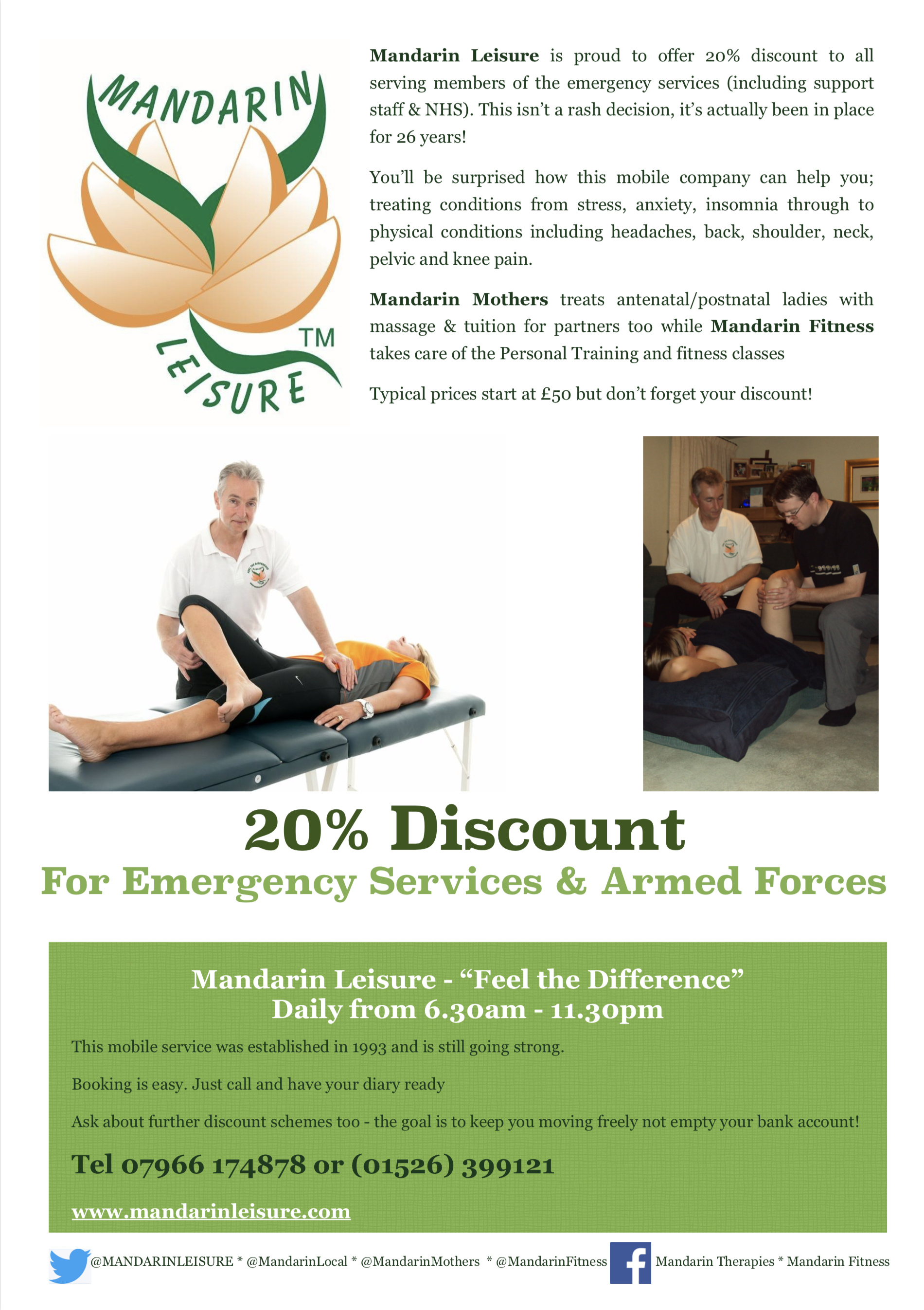 #WhatsOnLincs - after the coronavirus - 20% discount for Emergency services and military by Mandarin Therapies